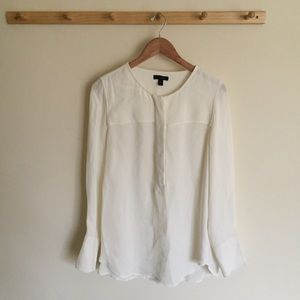 J. Crew Covered-button Crepe Blouse Size 10